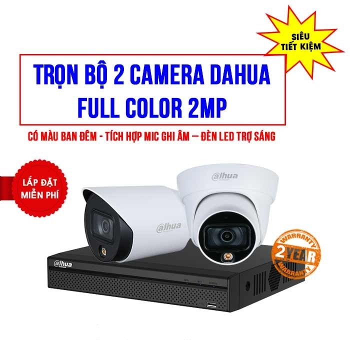 Trọn bộ 2 camera Dahua 2MP Full Color (SILVER D2020-1)