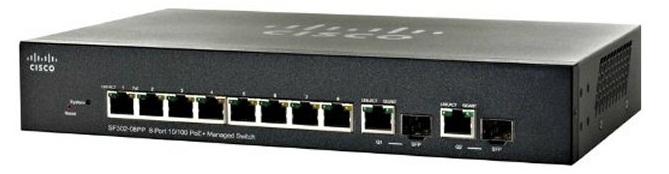 8-port PoE 10/100 + 2-Port Gigabit Switch Cisco SF302-08PP-K9