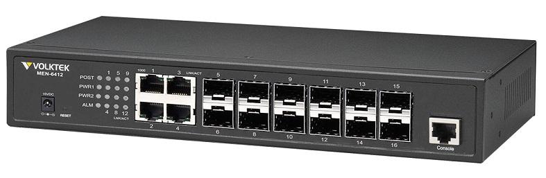 12 Port Gigabit Managed Fiber Switch VolkTek MEN-6412