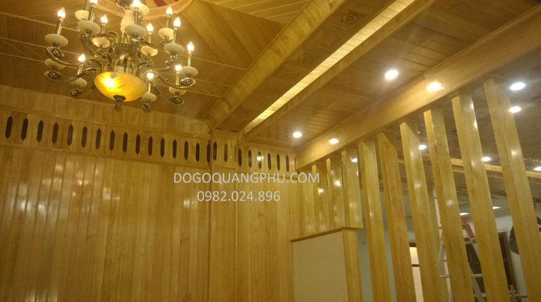 Trần gỗ tự nhiên phòng khách