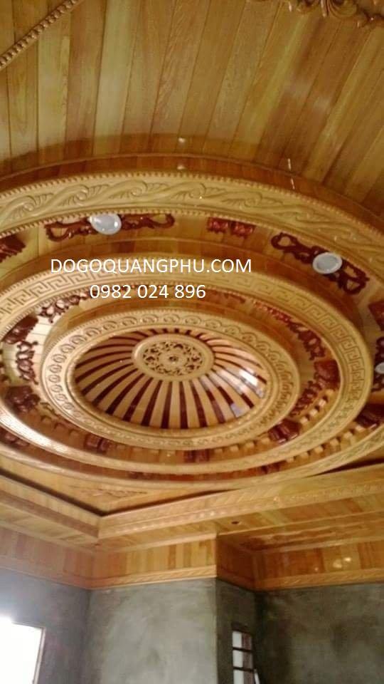 Giá trần gỗ đẹp cho phòng khách