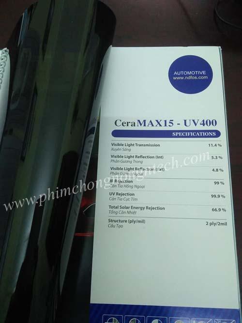 Dòng phim dán kính cách nhiệt cản tia cực tím tốt nhất CERAMAX-UV400nm