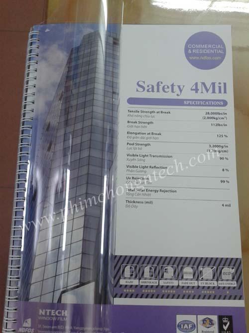 Phim bảo vệ an toàn Safety 4mil - Ntech Hàn Quốc