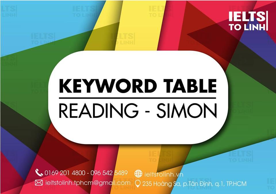 KEYWORD TABLE - READING SIMON
