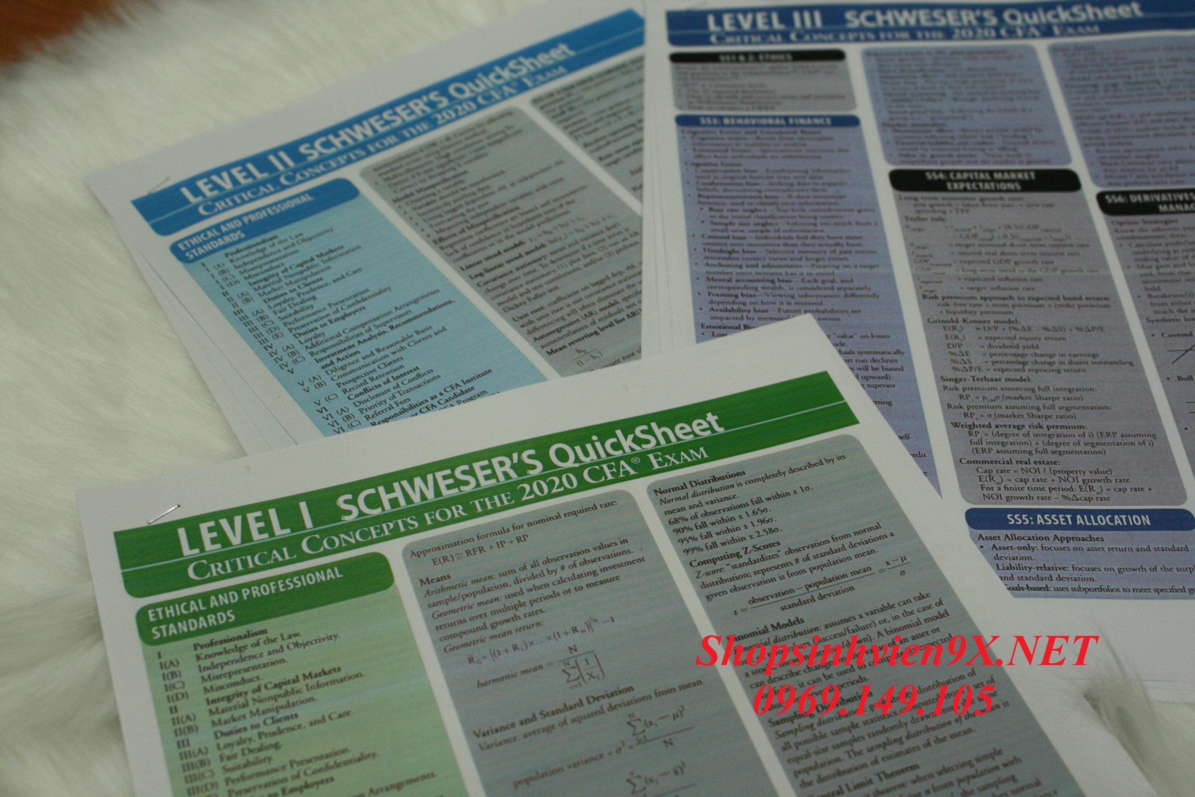 Tài Liệu CFA 2020 Level 1 Quick Sheet Bản In Màu
