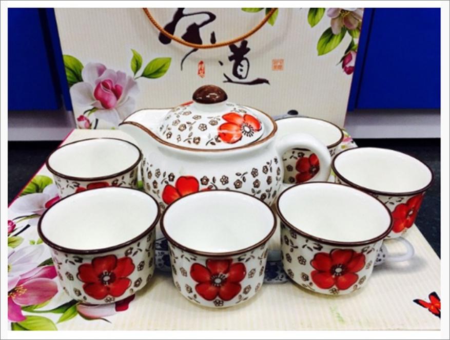 Bộ tách trà Nhật cao cấp gồm 1 bình trà và 6 tách, chất liệu gốm sứ cao cấp