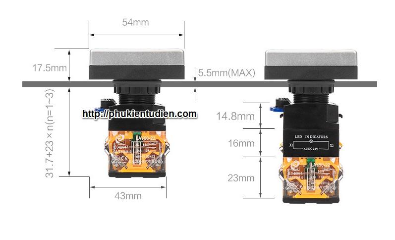Nút nhấn đôi, nút nhấn đôi có đèn, LA38-11R, LA38-11RD