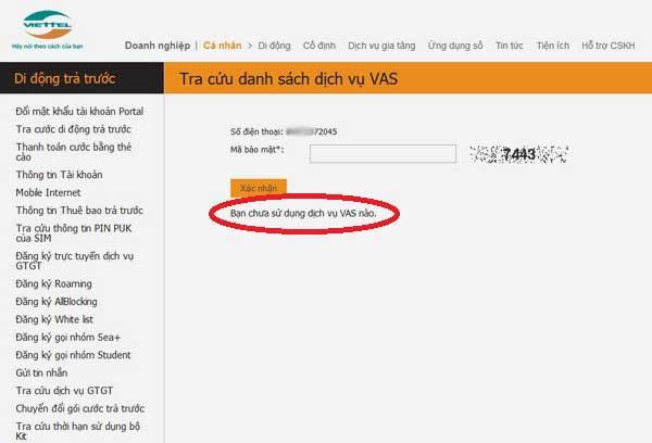 Kiểm tra dịch vụ Viettel nào bạn đang sử dụng