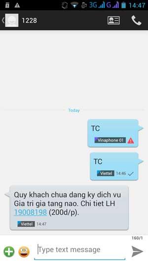 nhắn tin sms Kiểm tra dịch vụ Viettel nào bạn đang sử dụng
