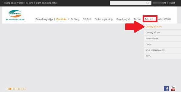 vào trang Viettel Kiểm tra dịch vụ Viettel nào bạn đang sử dụng