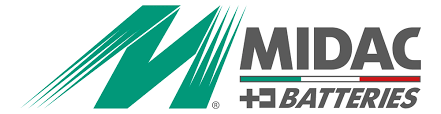 Logo ăc quy xe nâng GS Midac Italia chính hãng