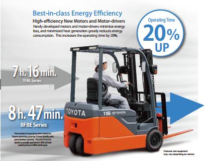 xe nâng 8FBE tăng 20% thời gian hoạt động của bình ắc quy