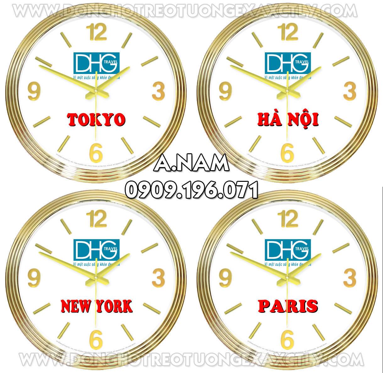 Đồng hồ treo tường các múi giờ khác nhau treo ở khu du lịch, khách sạn, U230 DHG Travel