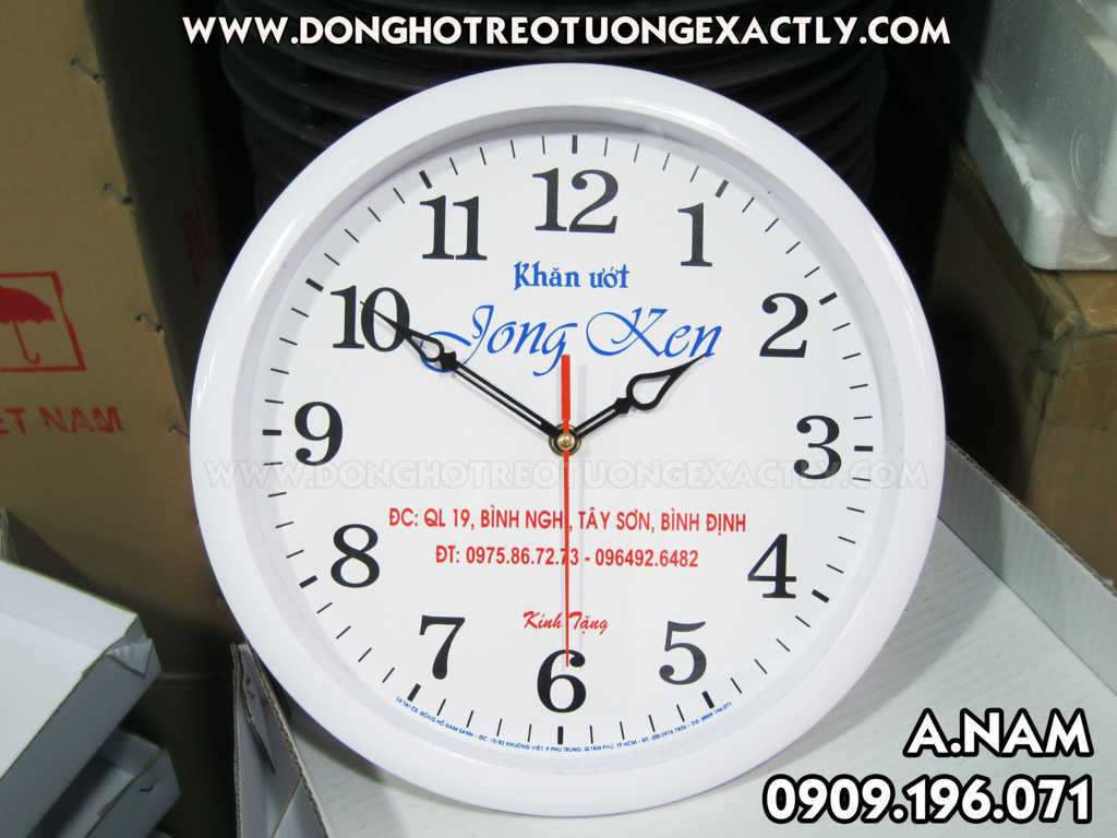 đồng hồ treo tường quà tặng giá rẻ khăn giấy jong ken - dong ho treo tuong qua tang gia re khan giay jong ken