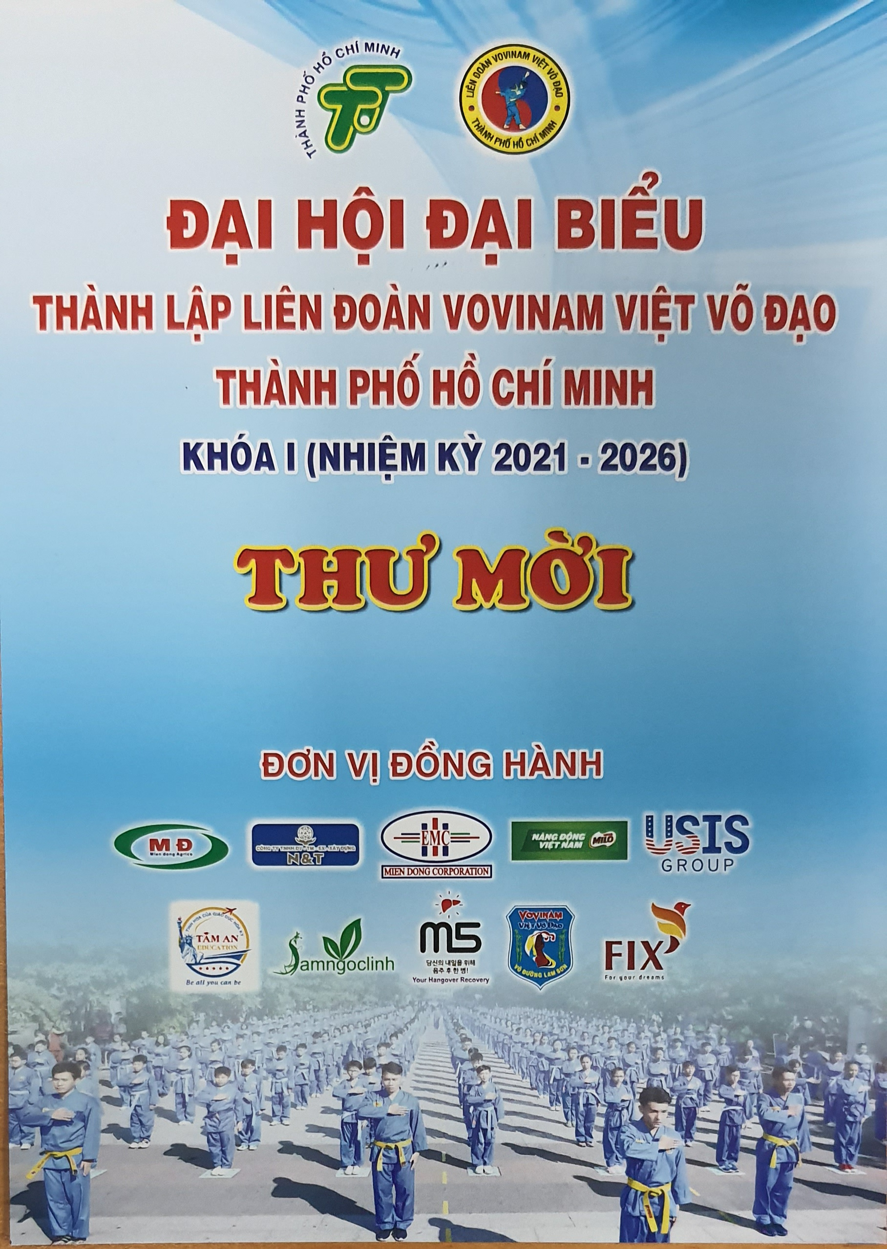 T/B: ĐẠI HỘI THÀNH LẬP LIÊN ĐOÀN VOVINAM TPHCM - Congrès pour la création de la Fédération Vovinam à Ho Chi Minh-Ville.