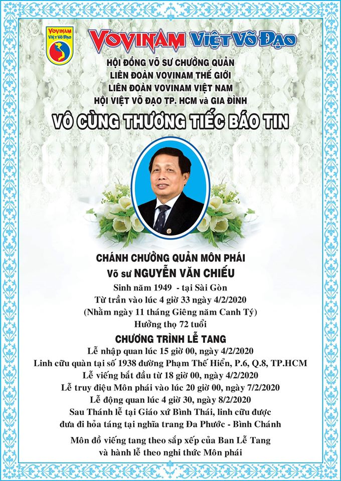 """Chánh chưởng quản Vovinam Việt Võ Đạo-Võ sư Nguyễn Văn Chiếu qua đời - Le chef du Conseil des Maitres """"Nguyễn Văn Chiếu est décédé"""" !"""