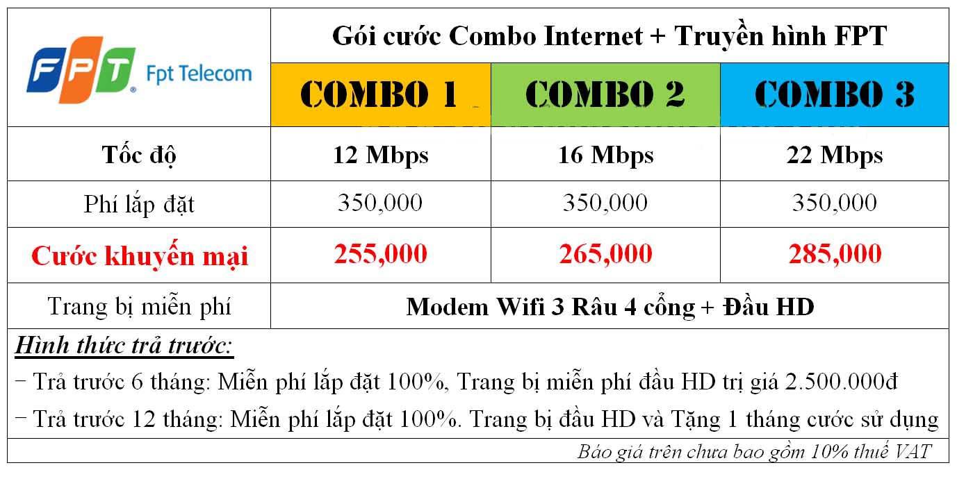 combo đăng ký truyền hình FPT + Lắp mạng FPT
