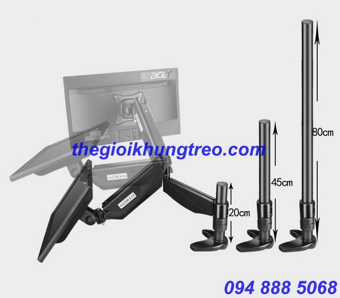 Giá treo monitor đa hướng single tay dài DM-17 45cm