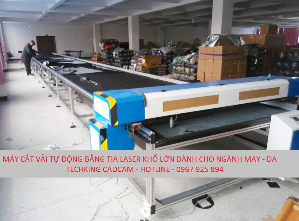 Máy cắt vải dùng tia laser khổ lớn dài 12m cho ngành may mặc