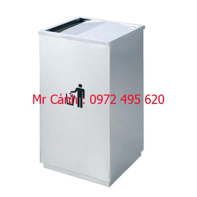 Thùng rác inox vuông nắp lật A34-G