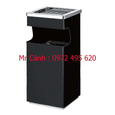 thùng rác màu đen có gạt tàn thuốc lá A34-C