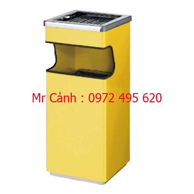 thùng rác màu vàng có gạt tàn thuốc lá
