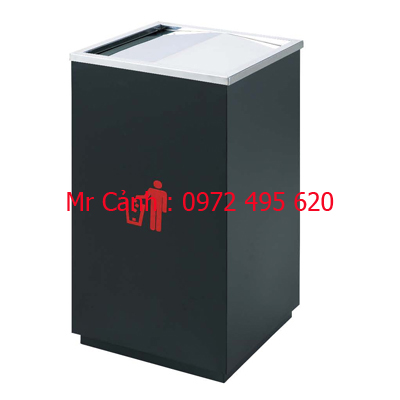 Thùng rác inox A34-G màu đen thép phun sơn tĩnh điện