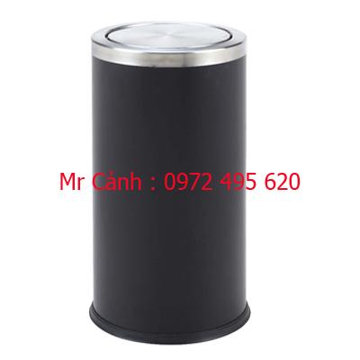 thùng rác màu đen năp lật xoay A35-O
