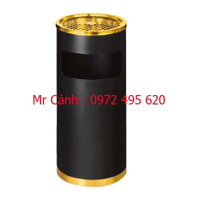 thùng rác phun sơn tĩnh điện màu đen kết hợp viền vàng