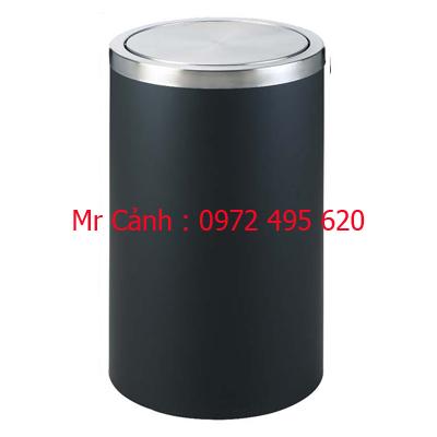 thùng rác thép phun sơn tĩnh điện màu đen