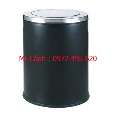 Thùng rác inox nắp xoay màu đen loại to A35-P