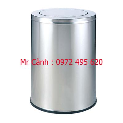thùng rác inox màu trắng A35-P