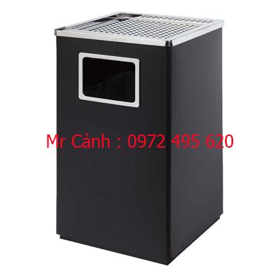 thùng rác gạt tàn thuốc lá bằng thép phun sơn tĩnh điện màu đen A43-C