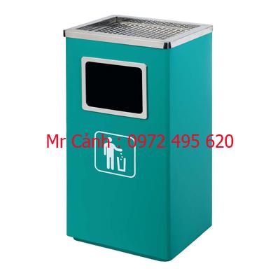 thùng rác vuông gạt tàn thuốc lá thép phun sơn tĩnh điện màu xanh a43-c