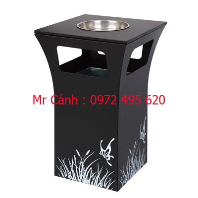 thùng rác gạt tàn màu đen A49