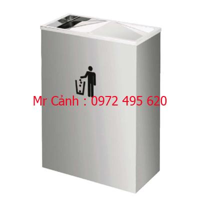 thùng rác inox nắp lật A54