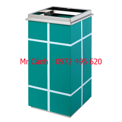 Thùng rác vuông gạt tàn thuốc lá màu xanh bằng thép phun sơn