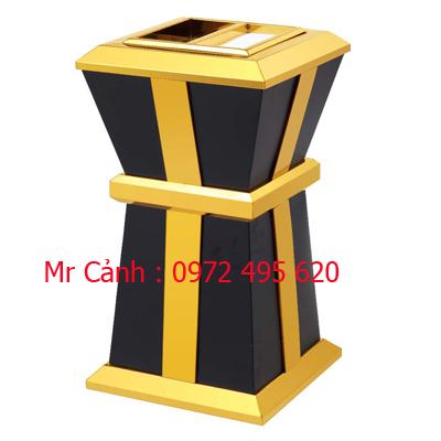 thùng rác gạt tàn đen vàng A86-D