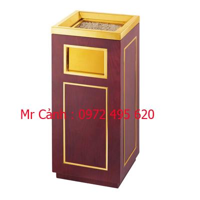 thùng rác gỗ kết hợp inox viền vàng A39-B