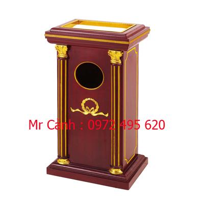 thùng rác gỗ ngoài trời inox viền vàng kết hợp A68