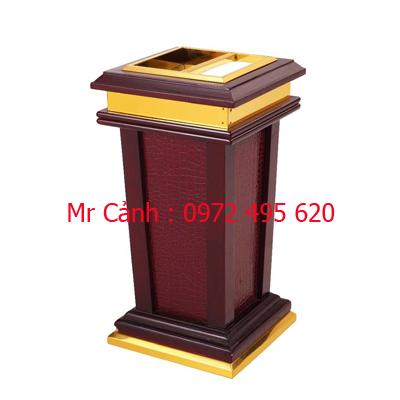 thùng rác gỗ có gạt tàn A84