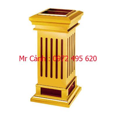 thùng rác inox mạ vàng A5