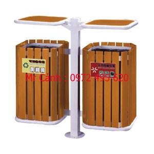 thùng rác treo đôi hai ngăn A78-Q | thùng rác gỗ treo đôi A78-Q