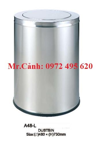 thùng rác inox nắp xoay A48-L