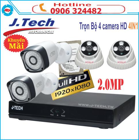 Trọn bộ 4 camera AHD Jtech 2M