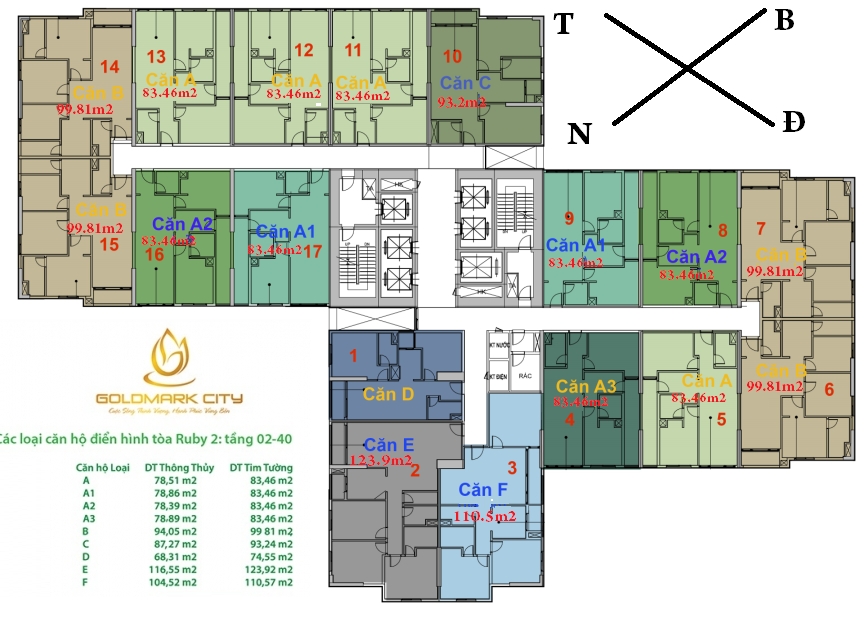 Thiết kế Chi Tiết Tòa RUBY 2 - Chung cư Goldmark City