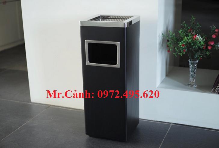 Thùng rác inox vuông gạt tàn màu đen A34-B