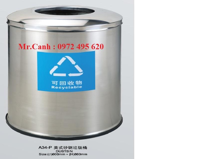 thùng rác inox a34-p