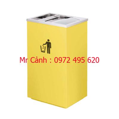 Thùng rác inox màu vàng