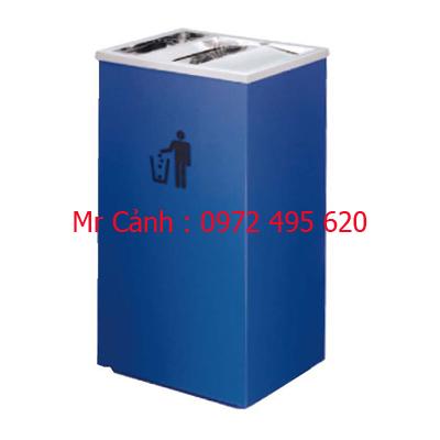 thùng rác thép phun sơn màu xanh